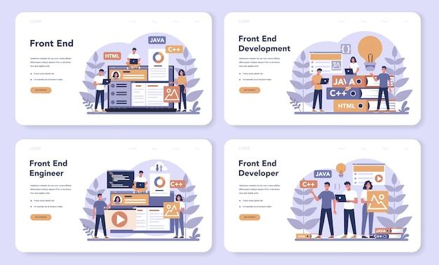 Frontend-ontwikkeling web-bestemmingspagina-set. verbetering van het ontwerp van de website-interface. programmeren en coderen. it-beroep. geïsoleerde platte vectorillustratie Premium Vector