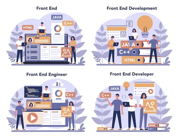 Frontend ontwikkelingsconcept set. verbetering van het ontwerp van de website-interface. programmeren en coderen. it-beroep. geïsoleerde platte vectorillustratie Premium Vector