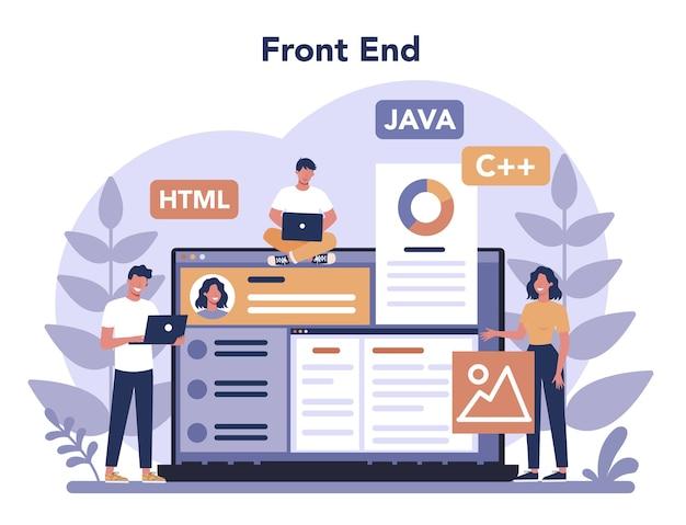 Frontend ontwikkelingsconcept. verbetering van het ontwerp van de website-interface. programmeren en coderen. it-beroep. geïsoleerde platte vectorillustratie Premium Vector