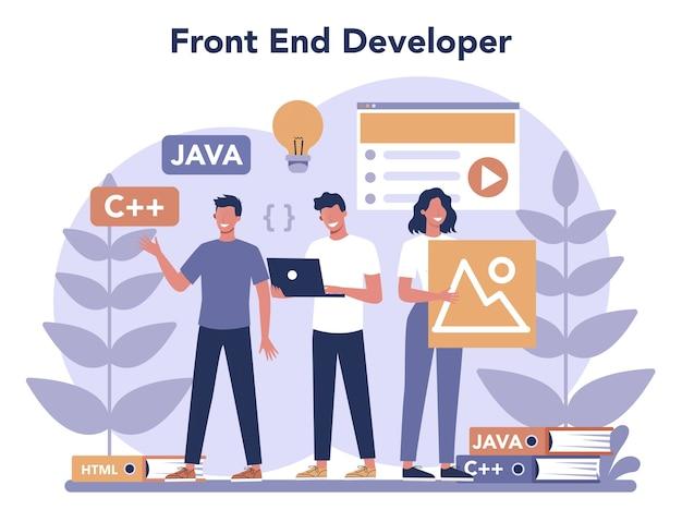 Frontend ontwikkelingsconcept. verbetering van het ontwerp van de website-interface. programmeren en coderen. it-beroep. Premium Vector