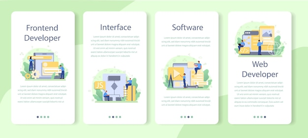 Frontend-sjabloon voor mobiele applicaties voor ontwikkelaars. Premium Vector