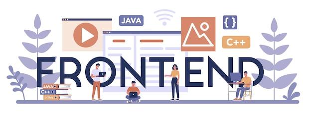 Frontend typografische header concept. verbetering van het ontwerp van de website-interface. programmeren en coderen. it-beroep. geïsoleerde platte vectorillustratie Premium Vector