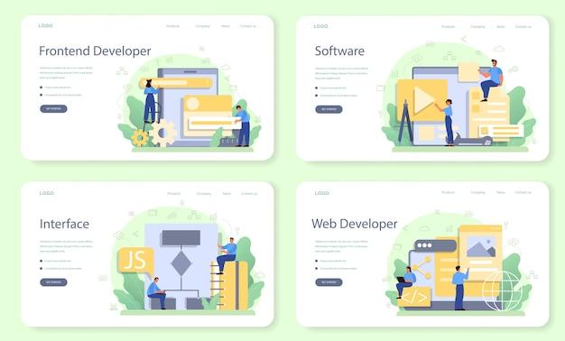 Frontend-webbanner of bestemmingspagina-set voor ontwikkelaars Premium Vector