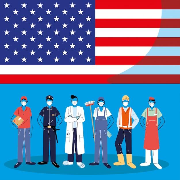 Frontliniearbeiders die gezichtsmaskers dragen die zich met amerikaanse vlag bevinden Premium Vector