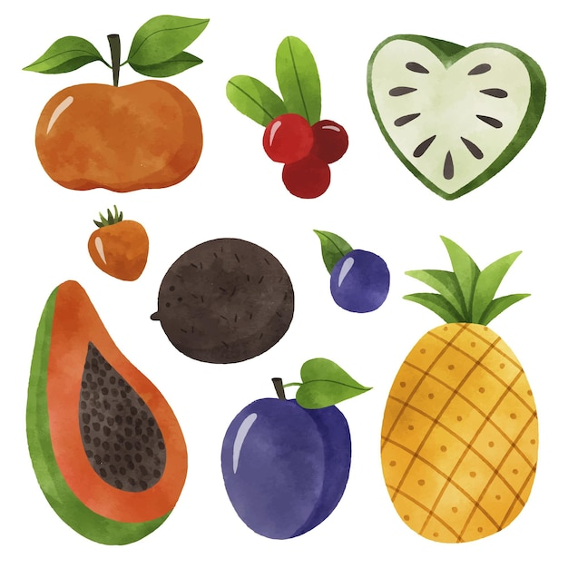 Fruit collectie concept Gratis Vector