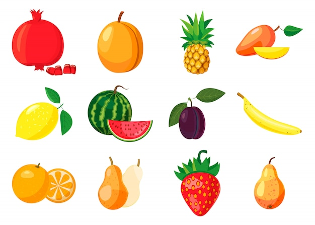 Fruit elementen instellen. cartoon set van fruit Premium Vector