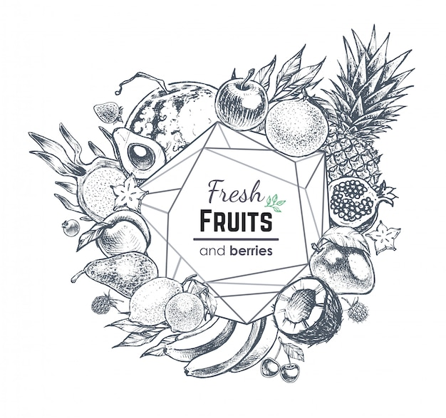 Fruit en bessen frame, met de hand getekende stijl voedsel illustratie Premium Vector