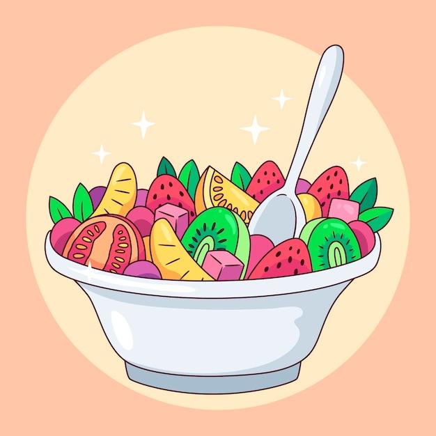 Fruit- en saladekommen Gratis Vector