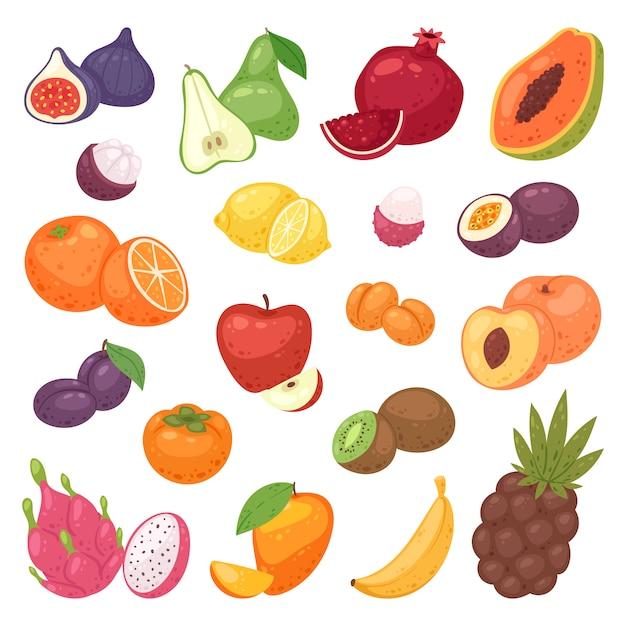 Fruit fruitige appel banaan en exotische papaja met verse plakjes tropische drakenfruit of sappige oranje illustratie vruchtbare set geïsoleerd op een witte achtergrond Premium Vector