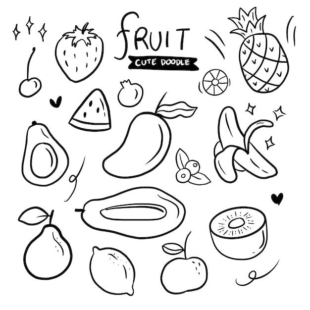 Fruit hand getrokken doodle set collectie Premium Vector