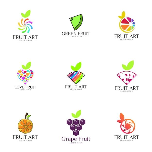 Fruit logo set Premium Vector