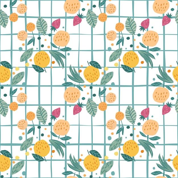 Fruit naadloos patroon. grappige zoete tuinvruchten. kersenbessen, appels, aardbeien en bladeren Premium Vector