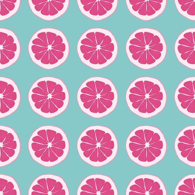 Fruit naadloos patroon met sinaasappel. Premium Vector