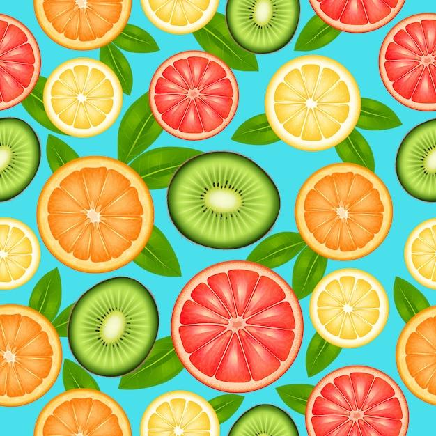 Fruit naadloze patroon met gesneden bovenaanzicht citrus en kiwi Gratis Vector