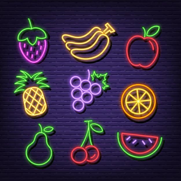 Fruit neon pictogrammen Premium Vector