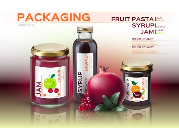 Fruit pasta, jam en siroopflesjes mock-up Premium Vector