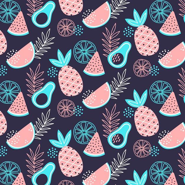 Fruit patroon collectie concept Premium Vector