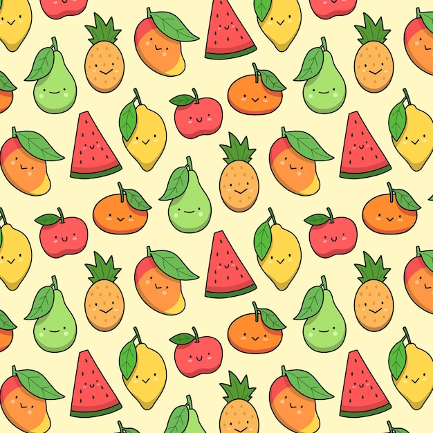 Fruit patroon collectie concept Gratis Vector
