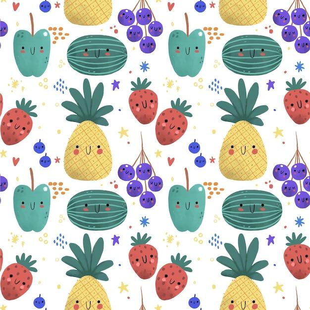 Fruit patroon met ananas Gratis Vector