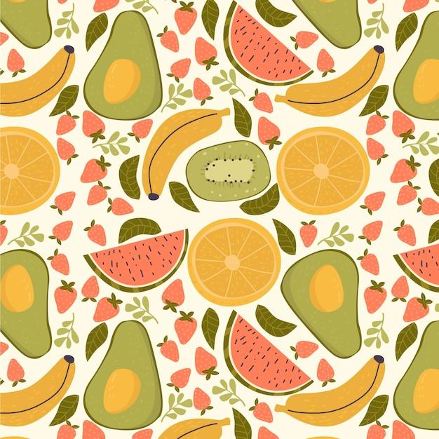 Fruit patroon met avocado Gratis Vector