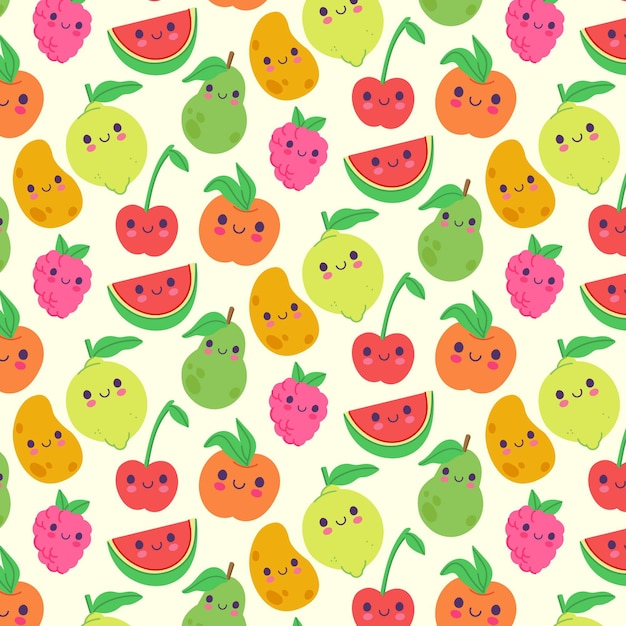 Fruit patroon met citroenen Premium Vector