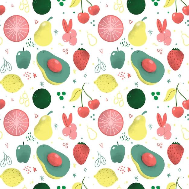 Fruit patroon met peren Gratis Vector