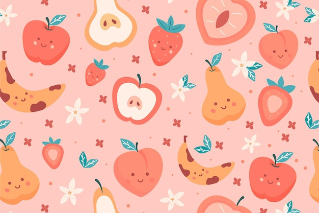 Fruit patroon met peren Gratis Vector