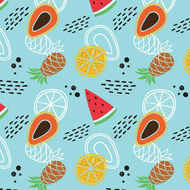 Fruit patroon met watermeloen en ananas Gratis Vector