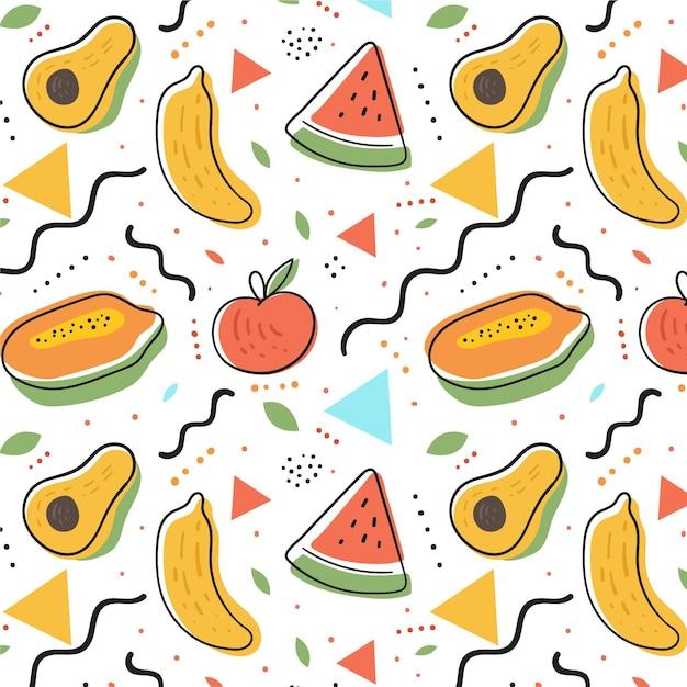 Fruit patroon met watermeloen en avocado Premium Vector