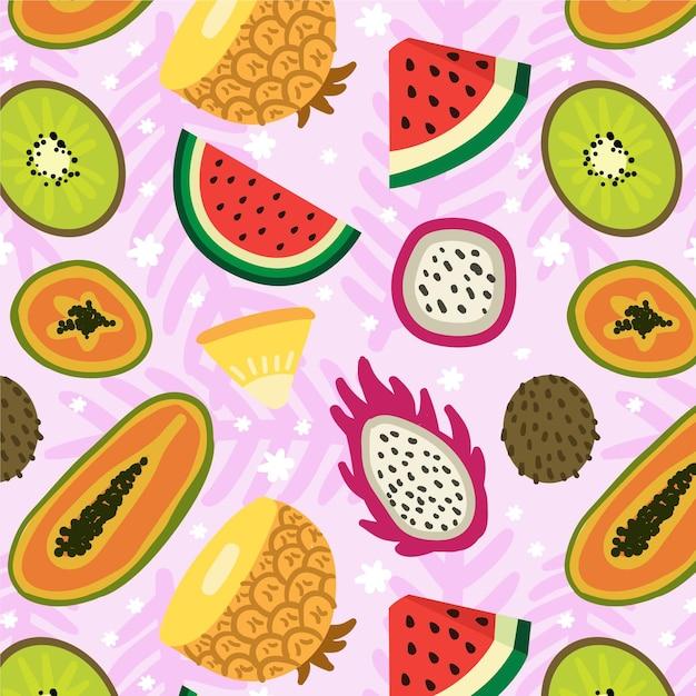Fruit patroon met watermeloen Premium Vector