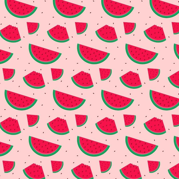Fruit patroon met watermeloen Gratis Vector