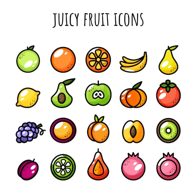 Fruit pictogramserie. sappige pictogrammen. kleur en omtrek Premium Vector