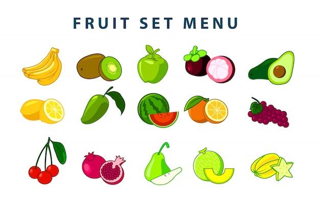 Fruit set illustratie (kleurenversie) Premium Vector