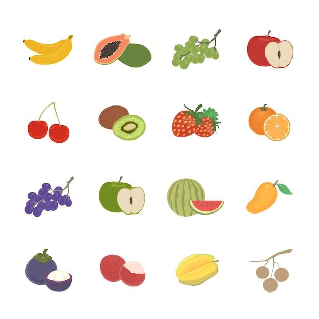 Fruit stel pictogram Premium Vector