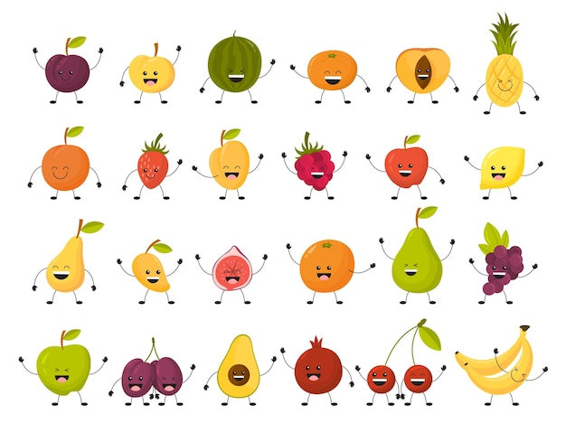 Fruit tekenset. verzameling van grappig eten met gezicht Premium Vector