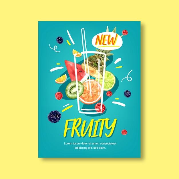 Fruit thema met verschillende vruchten, blauwe achtergrond illustratie sjabloon. Gratis Vector