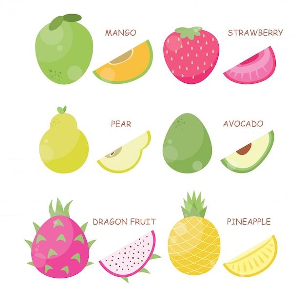 Fruit vector illustratie set Premium Vector