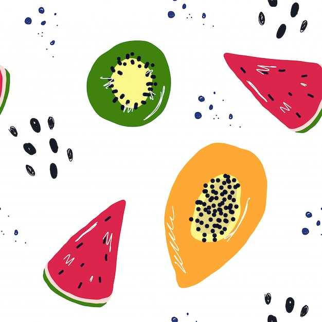 Fruit zomer patroon Premium Vector
