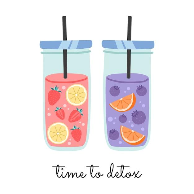Fruitwater in glazen pot met stro Premium Vector