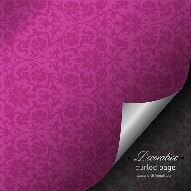 Fuchsia gekrulde pagina ontwerp Gratis Vector