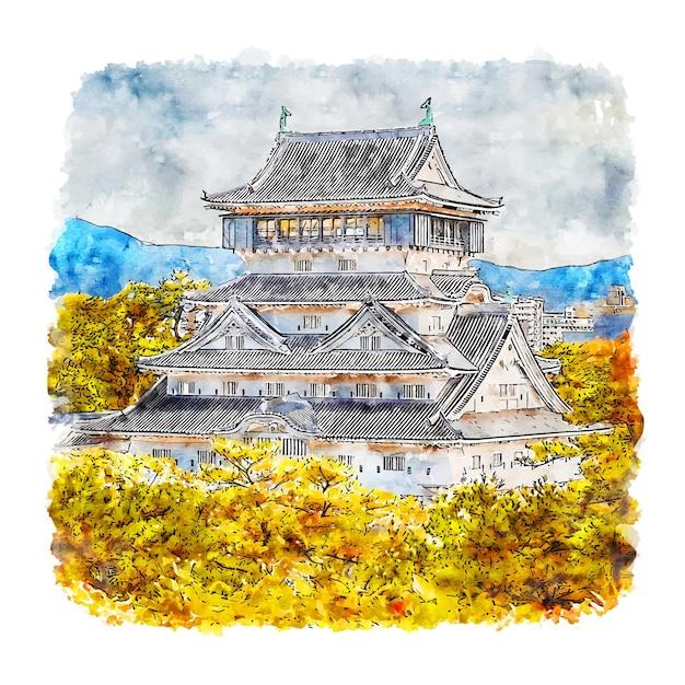 Fukuoka japan aquarel schets hand getrokken Premium Vector
