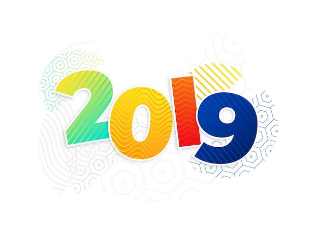 Funky nieuwe het jaarachtergrond van memphis stijl 2019 Gratis Vector