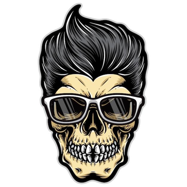 Funky schedel rockabilly Premium Vector