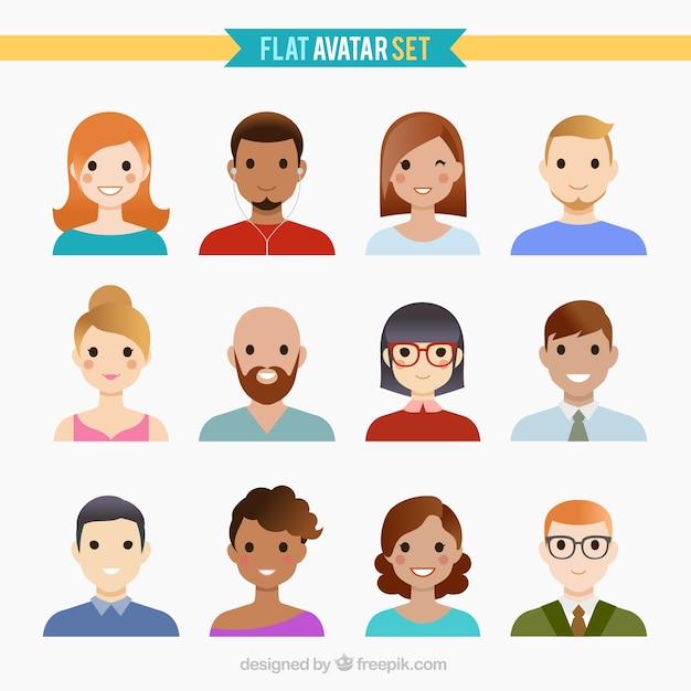 Funny people avatars Gratis Vector