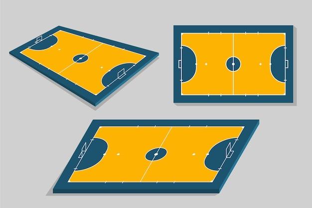 Futsalveld in verschillende perspectieven Premium Vector