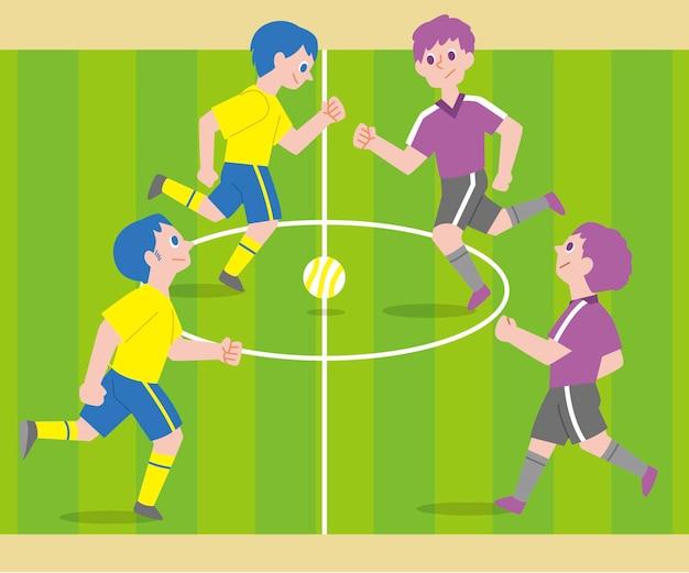 Futsalveld met karakters Premium Vector