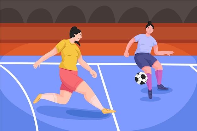 Futsalveld met spelers Gratis Vector