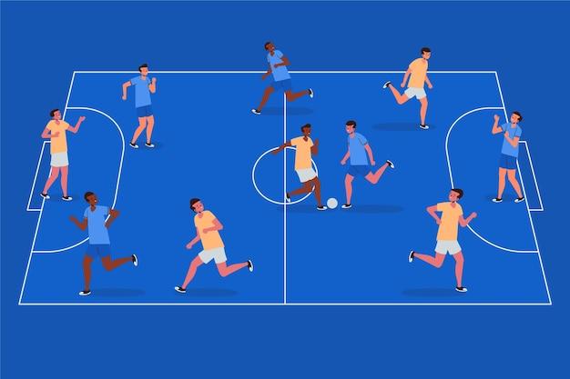 Futsalveld met spelersillustratie Gratis Vector