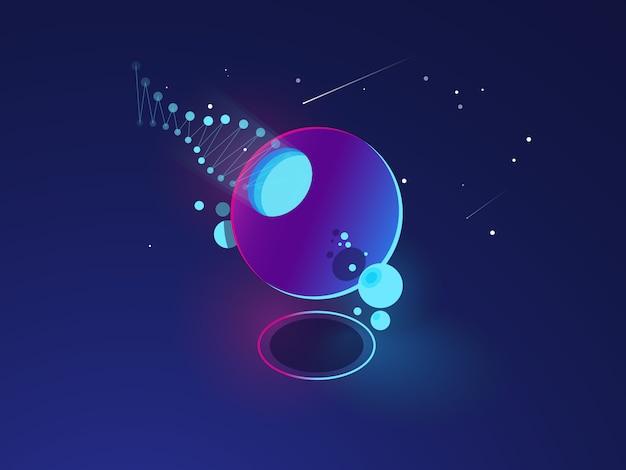 Futuristisch abstract voorwerp, ruimtesysteemmodel, baan, digitale technologie Gratis Vector