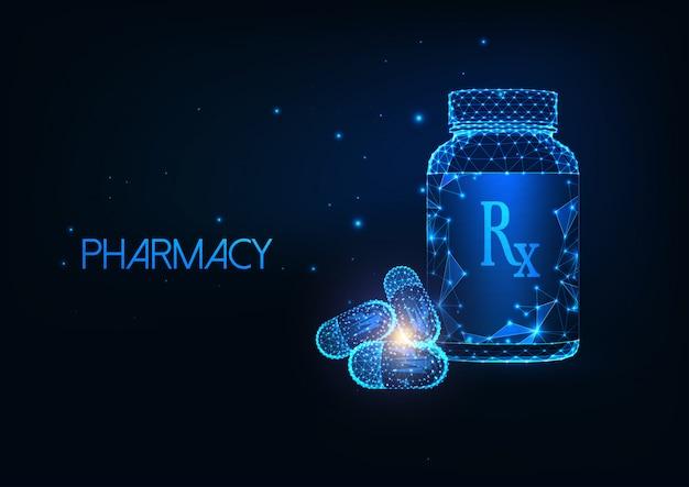 Futuristisch apotheekconcept met gloeiende lage veelhoekige medicijncontainer en capsulepillen. Premium Vector